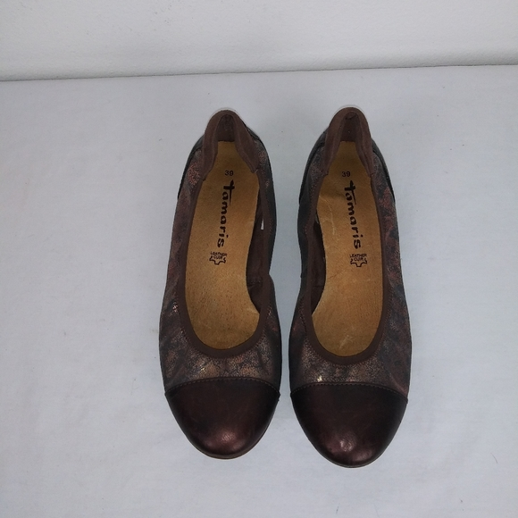 Tamaris Leather Ballet Brown Metallic Flats(39)